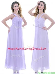 Casual Ruched Decorated Bust Ankle Length Homecoming Dress in Lavender