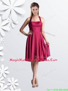 Cheap Halter Top Chiffon Coral Red Prom Dress with Ruching