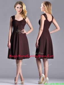 Casual Best Selling Empire Ruched Brown Homecoming Dress with Wide Straps