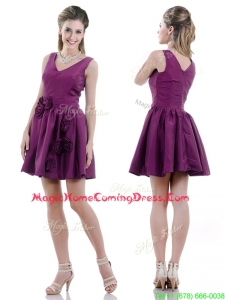 Casual Exquisite V Neck Taffeta Purple Homecoming Dress with Handcrafted Flowers