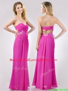 Casual Fashionable Sweetheart Backless Beaded and Ruched Homecoming Dress in Hot Pink