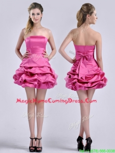 Casual Latest A Line Bubble and Bowknot Taffeta Homecoming Dress in Hot Pink