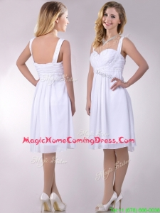 Casual New Applique Decorated Straps and Waist White Homecoming Dress in Chiffon
