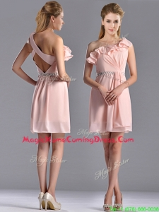 Classical Latest Beaded and Ruffled Pink Homecoming Dress with Criss Cross