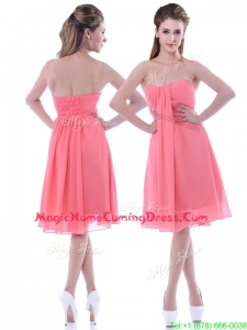 Classical Popular Empire Chiffon Ruched Watermelon Homecoming Dress in Knee Length
