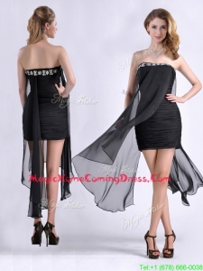 Best Selling Asymmetrical Column Homecoming Dress with Beaded Top and Ruching