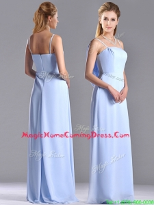 Cheap Chiffon Spaghetti Straps Long Homecoming Dress with Zipper Up