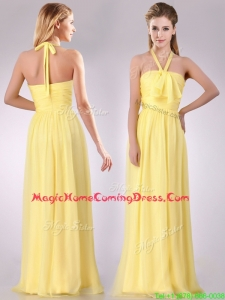 Lovely Halter Top Chiffon Ruched Long Homecoming Dress in Yellow