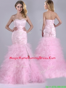 Luxurious Ruffled Taffeta and Tulle Homecoming Dress with Beading and Sequins