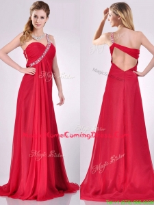New Beaded Decorated One Shoulder Red Homecoming Dress with Brush Train