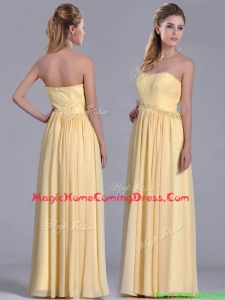 New Style Yellow Empire Long Homecoming Dress with Beaded Bodice