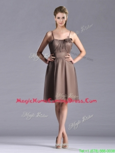 Popular Chiffon Brown Short Homecoming Dress with Spaghetti Straps