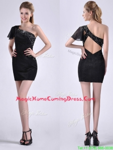 Best One Shoulder Black Homecoming Dress with Beaded Decorated Criss Cross