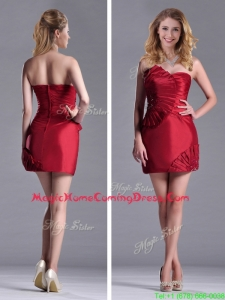Best Selling Column Wine Red Homecoming Dress with Asymmetrical Neckline