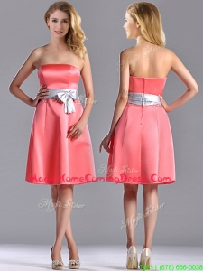 Best Selling Watermelon Knee Length Homecoming Dress with Silver Bowknot