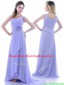 Brush Train Lavender Homecoming Dress with Beading and Hand Crafted Flower