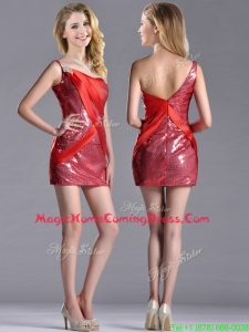 Cheap Column Beaded One Shoulder Homecoming Red Dress in Sequins