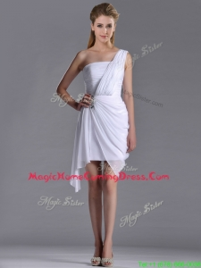 Cheap Column One Shoulder White Short Homecoming Dress with Zipper Up