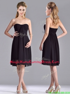Cheap Empire Knee Length Black Homecoming Dress in Chiffon