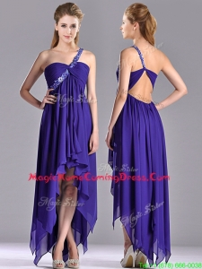 Cheap High Low One Shoulder Criss Cross Homecoming Dress with Beading