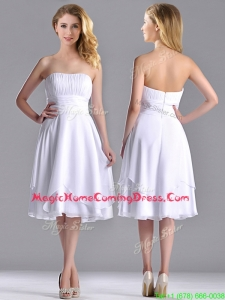 Cheap Strapless Chiffon White Homecoming Dress with Ruched Decorated Bust