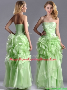 Classical Beaded and Bubble Organza Homecoming Dress in Yellow Green