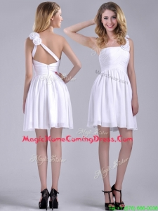 Classical Criss Cross White Homecoming Dress with Hand Crafted Flowers
