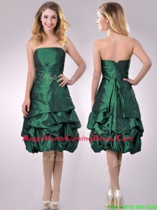 Classical Taffeta Strapless Bubble Homecoming Dress in Dark Green