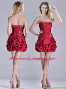 Classical Taffeta Wine Red Short Homecoming Dress with Beading and Bubbles