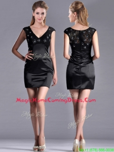 Classical V Neck Satin and Lace Homecoming Dress with Cap Sleeves