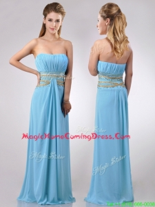 Discount Beaded Decorated Waist and Ruched Bodice Homecoming Dress in Aqua Blue
