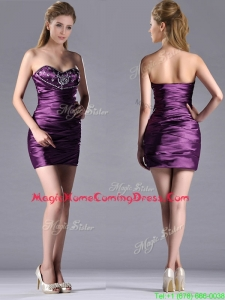 Discount Column Beaded Bust and Ruched Homecoming Dress in Dark Purple