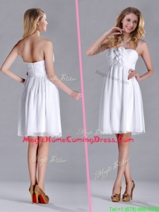 Discount White Strapless Short Homecoming Dress with Hand Made Flowers