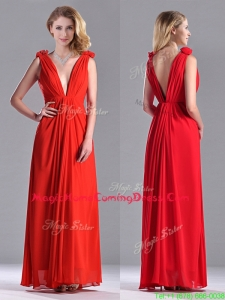 Elegant Deep V Neckline Red Homecoming Dress with Hand Crafted Flowers