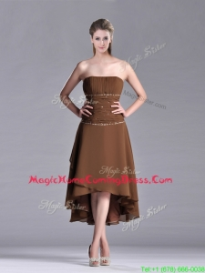 Exclusive Beaded Strapless High Low Brown Homecoming Dress in Chiffon
