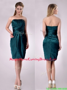 Exclusive Column Ruched Decorated Bodice Homecoming Dress in Hunter Green
