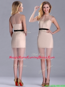 Exclusive High Neck Organza Champagne Homecoming Dress with Black Belt