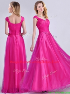 Exclusive Organza Beaded Top Hot Pink Homecoming Dress with Cap Sleeves