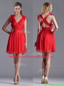 Exclusive V Neck Criss Cross Homecoming Dress with Ruching and Bowknot