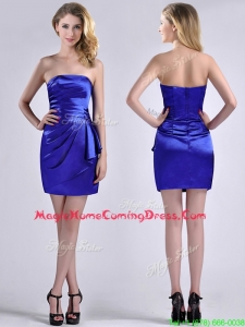 Exquisite Column Strapless Royal Blue Homecoming Dress in Taffeta