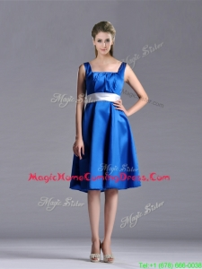 Exquisite Empire Square Taffeta Blue Homecoming Dress with White Belt