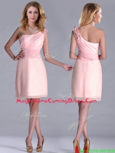 Exquisite One Shoulder Side Zipper Homecoming Dress in Baby Pink