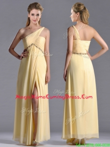 Exquisite One Shoulder Yellow Homecoming Dress with Beading and High Slit