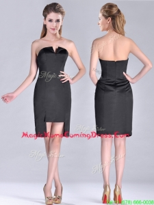 Fashionable Front Short Back Long V Neck Homecoming Dress in Black