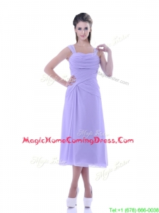 Fashionable Lavender Empire Square Homecoming Dress in Tea Length