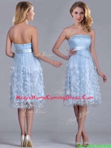 Gorgeous Empire Tea Length Applique Tulle Homecoming Dress in Light Blue