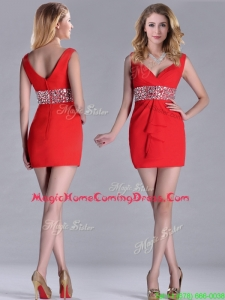 Hot Sale Beaded Decorated Waist V Neck Homecoming Dress in Red