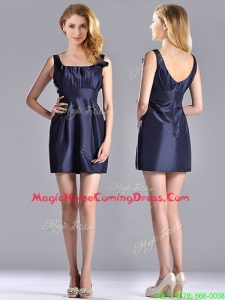 Hot Sale Square Handcrafted Flower Short Homecoming Dress in Navy Blue