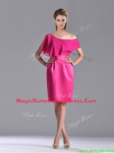 Latest Column One Shoulder Hot Pink Homecoming Dress with Zipper Up