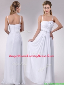 Latest Handcrafted Flower White Homecoming Dress with Spaghetti Straps
